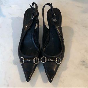 DIOR Black Kitten Heel Sling Back size 6.5